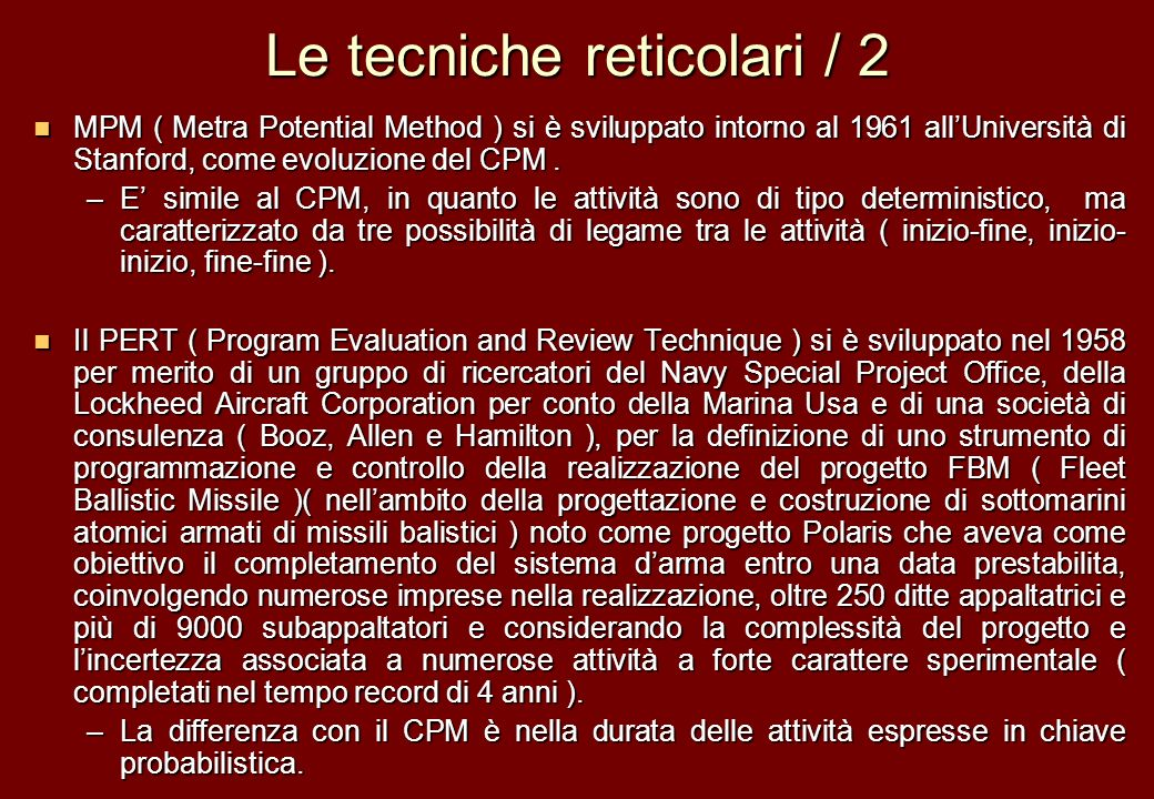 Le tecniche reticolari / 2