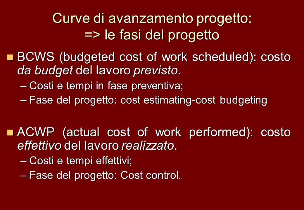 Curve di avanzamento progetto: => le fasi del progetto