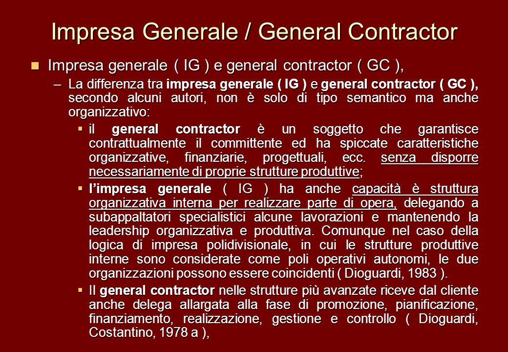 Impresa Generale / General Contractor
