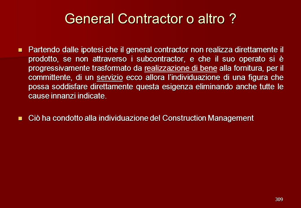 General Contractor o altro