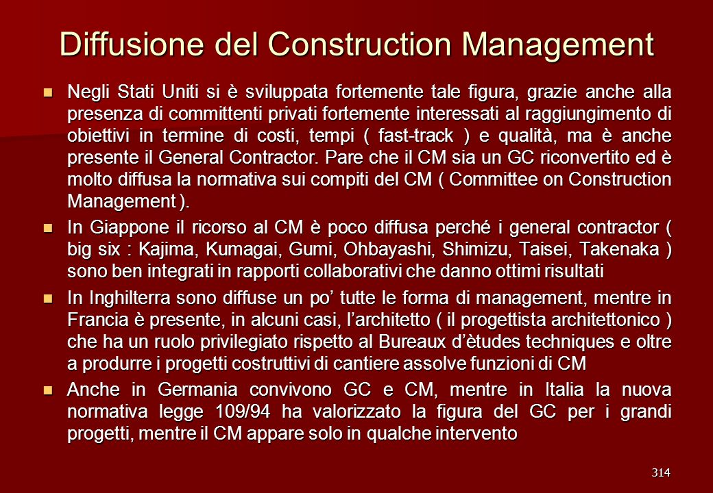 Diffusione del Construction Management