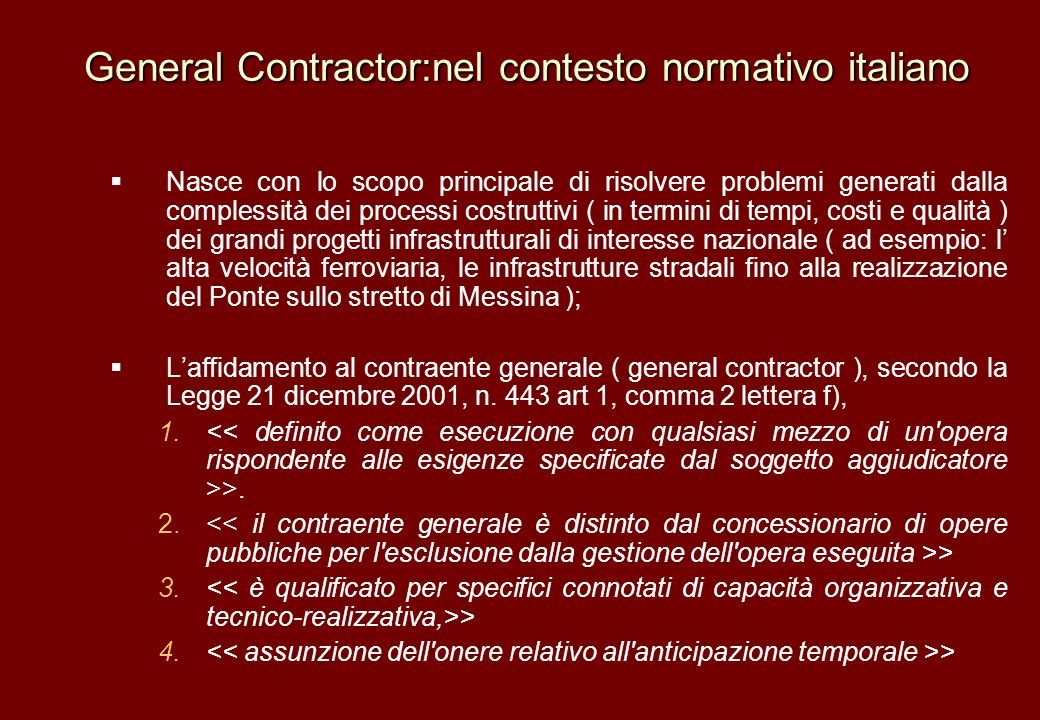 General Contractor:nel contesto normativo italiano
