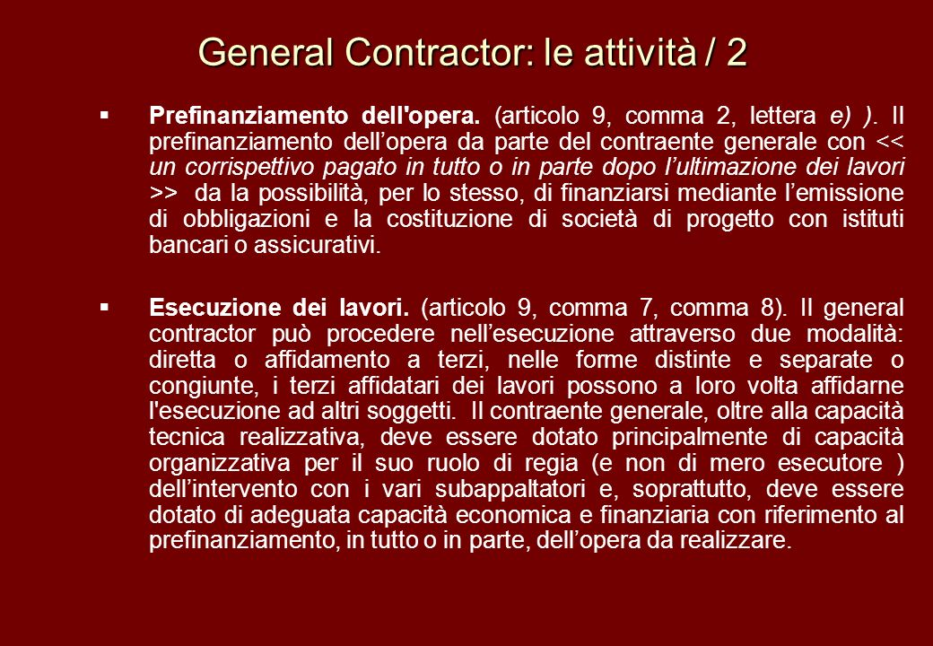 General Contractor: le attività / 2