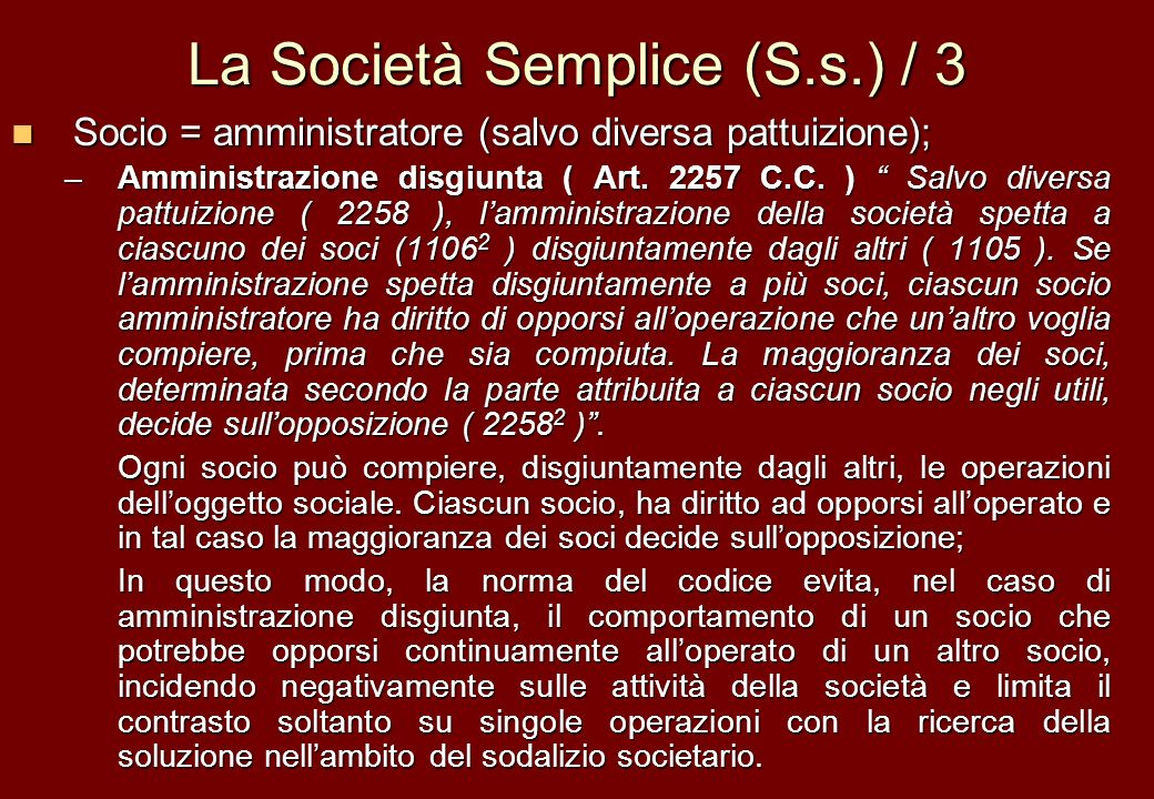 La Società Semplice (S.s.) / 3