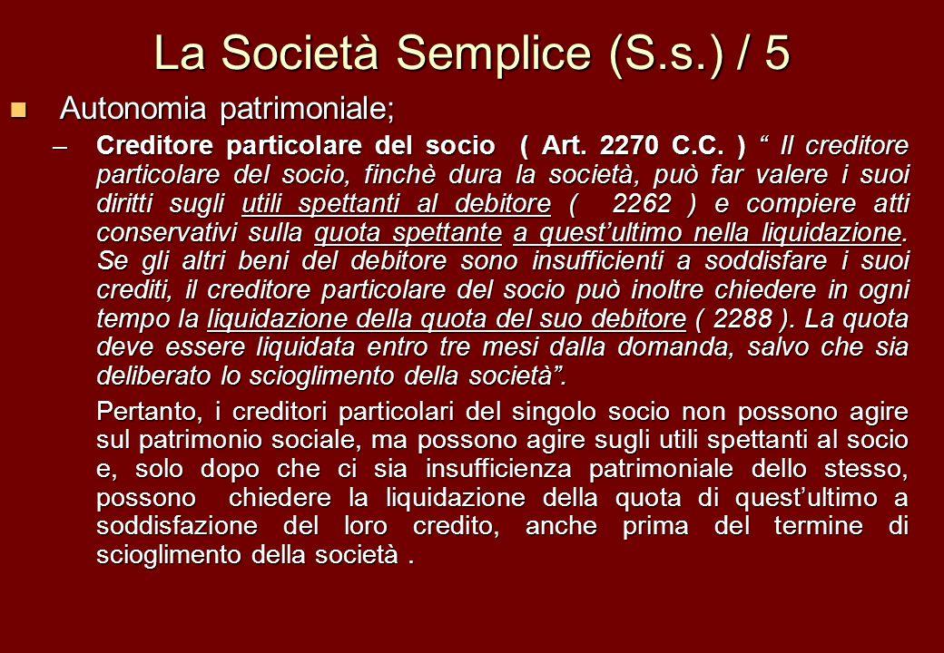 La Società Semplice (S.s.) / 5
