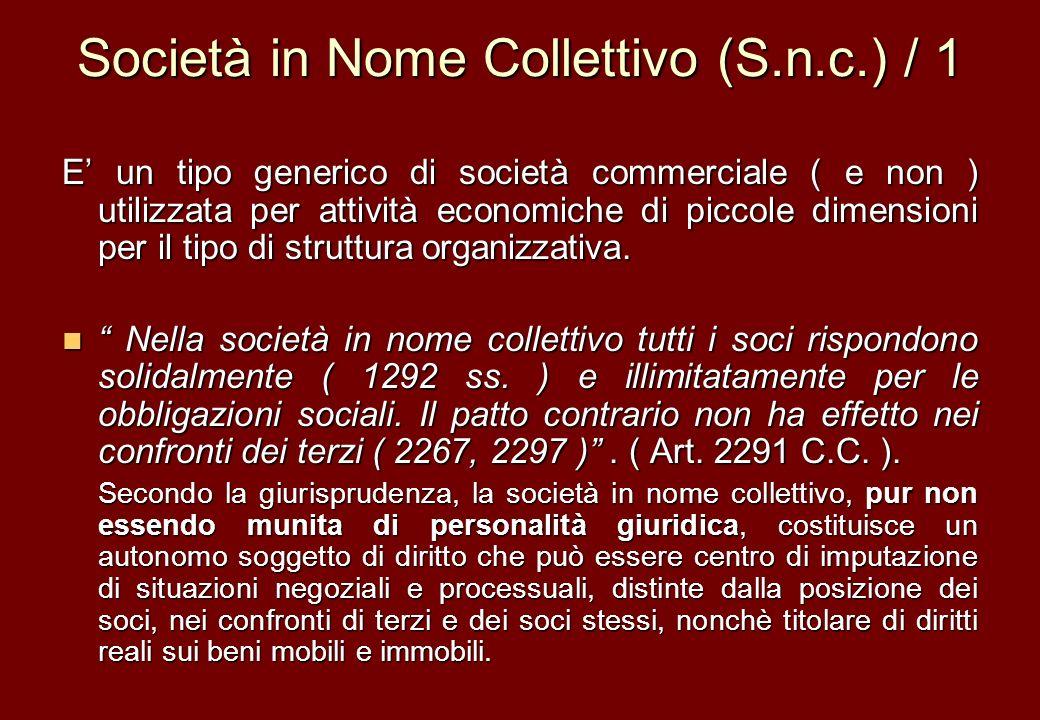 Società in Nome Collettivo (S.n.c.) / 1