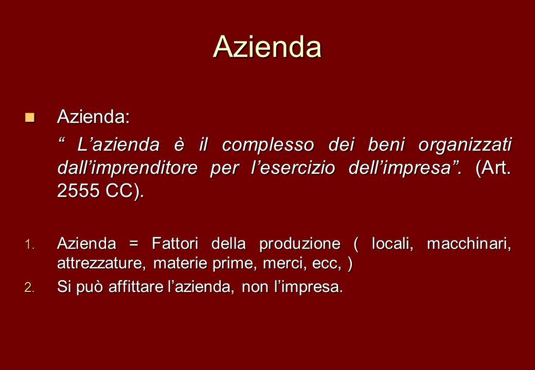 Azienda Azienda: L'azienda è il complesso dei beni organizzati dall'imprenditore per l'esercizio dell'impresa . (Art. 2555 CC).