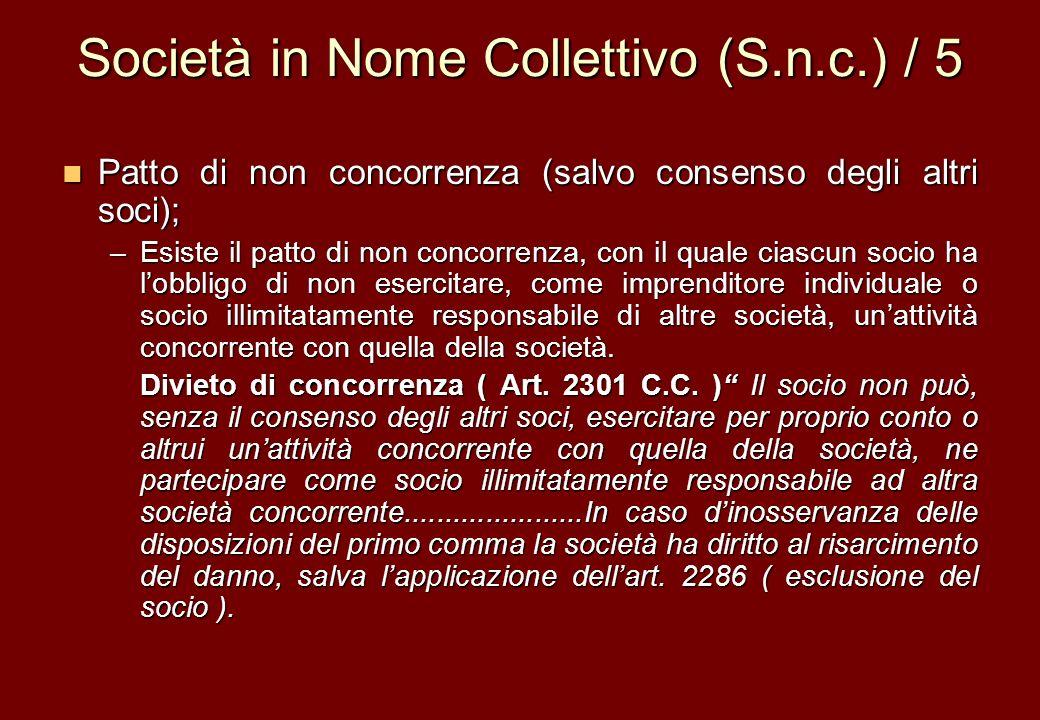 Società in Nome Collettivo (S.n.c.) / 5