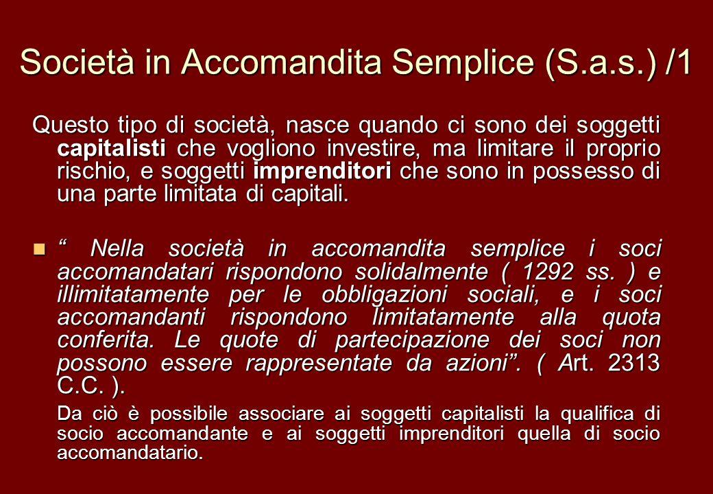 Società in Accomandita Semplice (S.a.s.) /1