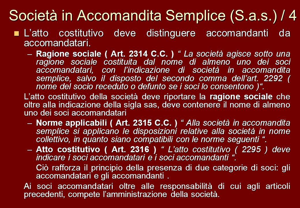 Società in Accomandita Semplice (S.a.s.) / 4