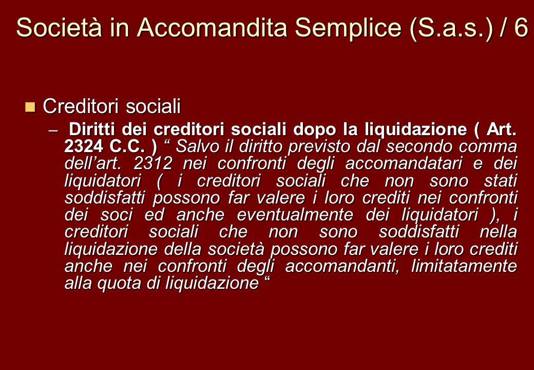 Società in Accomandita Semplice (S.a.s.) / 6