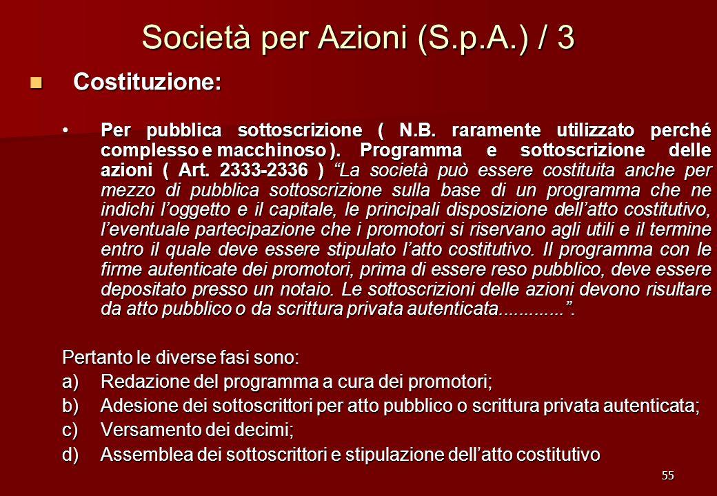 Società per Azioni (S.p.A.) / 3