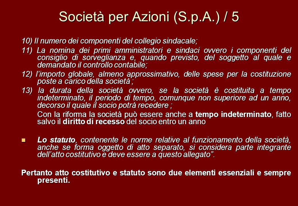 Società per Azioni (S.p.A.) / 5