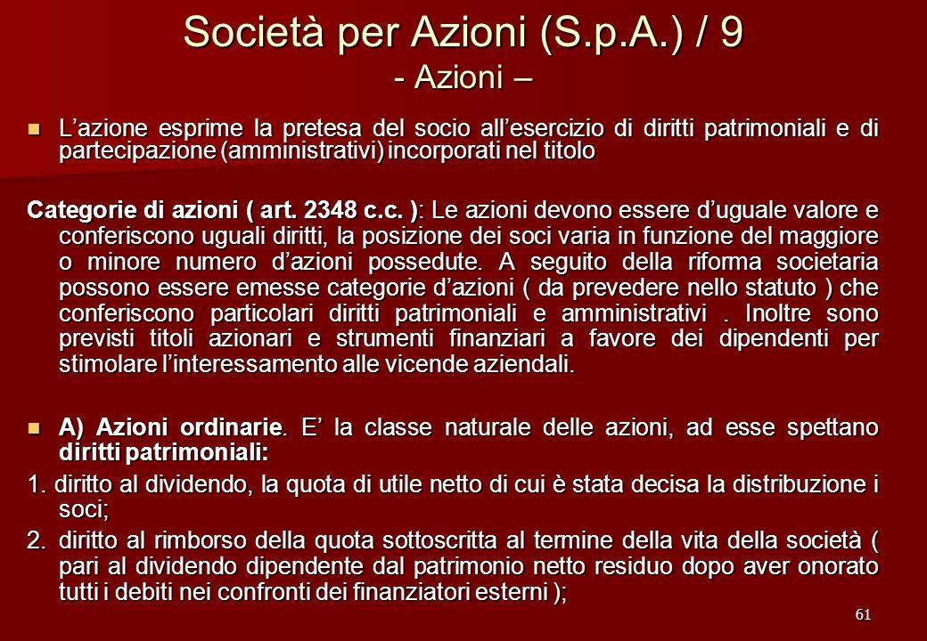 Società per Azioni (S.p.A.) / 9 - Azioni –