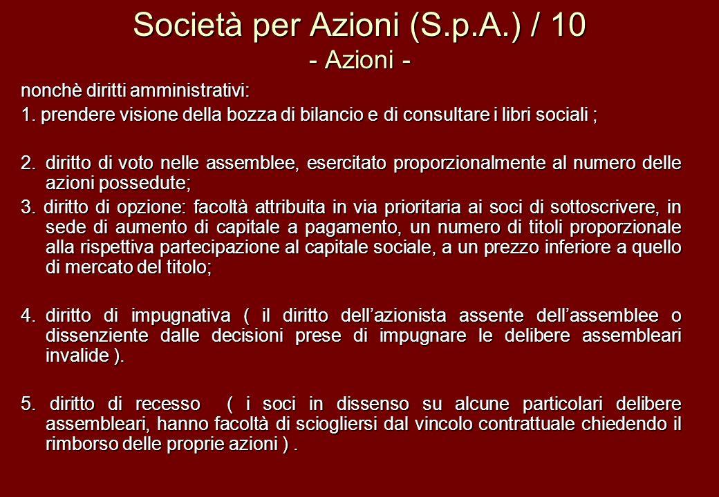 Società per Azioni (S.p.A.) / 10 - Azioni -