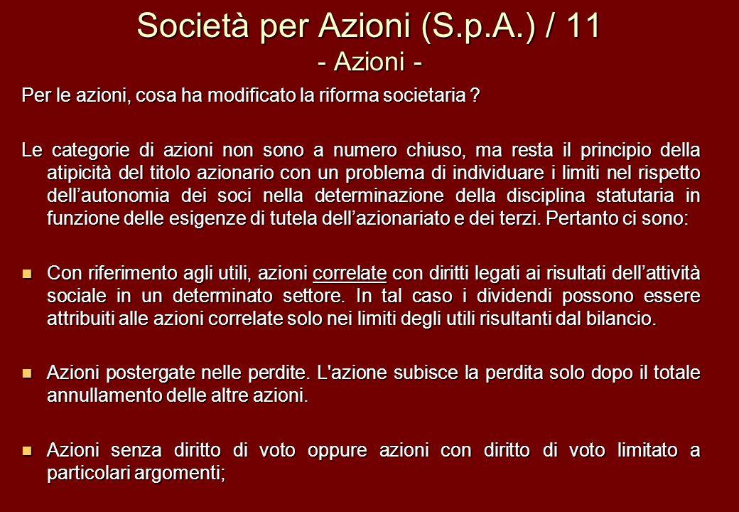 Società per Azioni (S.p.A.) / 11 - Azioni -