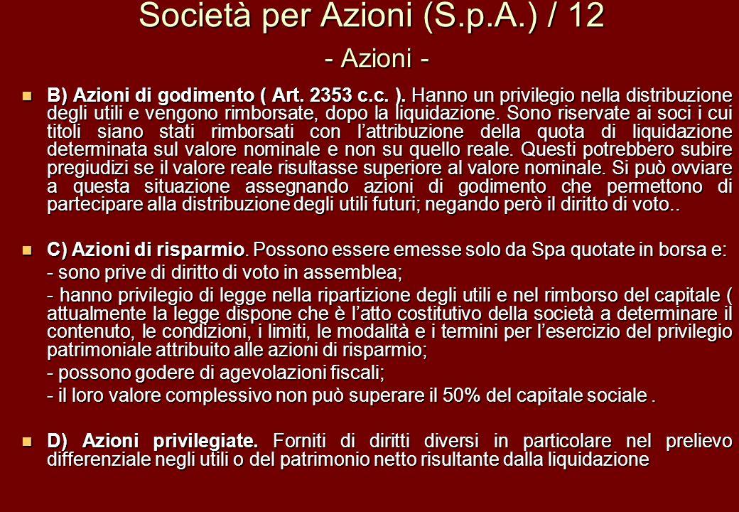 Società per Azioni (S.p.A.) / 12 - Azioni -