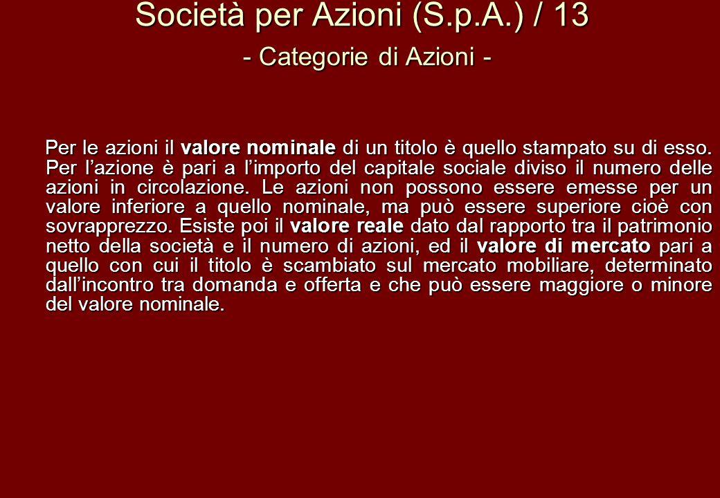 Società per Azioni (S.p.A.) / 13 - Categorie di Azioni -