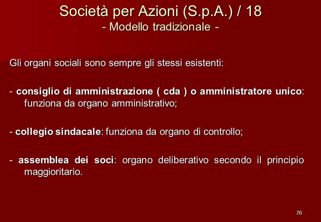 Società per Azioni (S.p.A.) / 18 - Modello tradizionale -