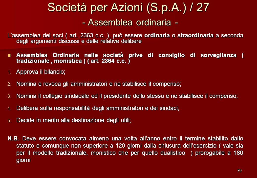 Società per Azioni (S.p.A.) / 27 - Assemblea ordinaria -