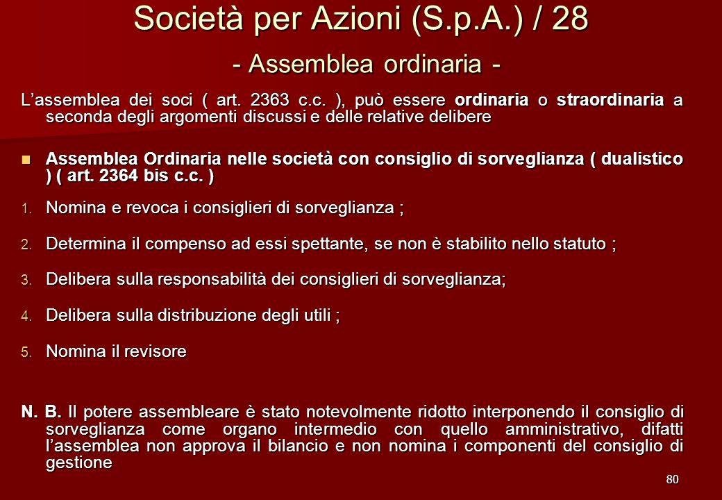 Società per Azioni (S.p.A.) / 28 - Assemblea ordinaria -