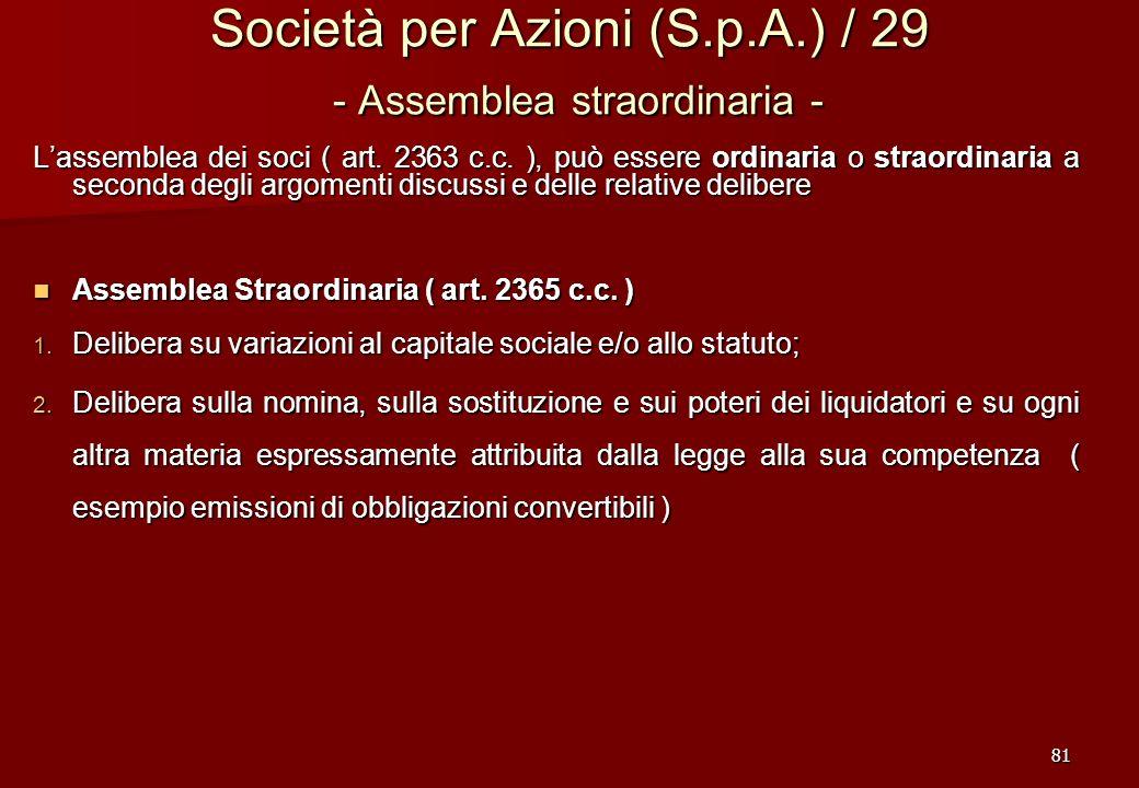 Società per Azioni (S.p.A.) / 29 - Assemblea straordinaria -