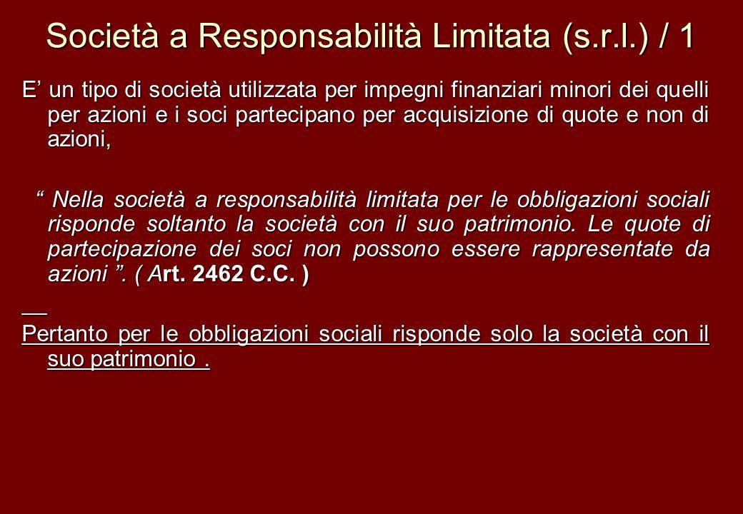 Società a Responsabilità Limitata (s.r.l.) / 1