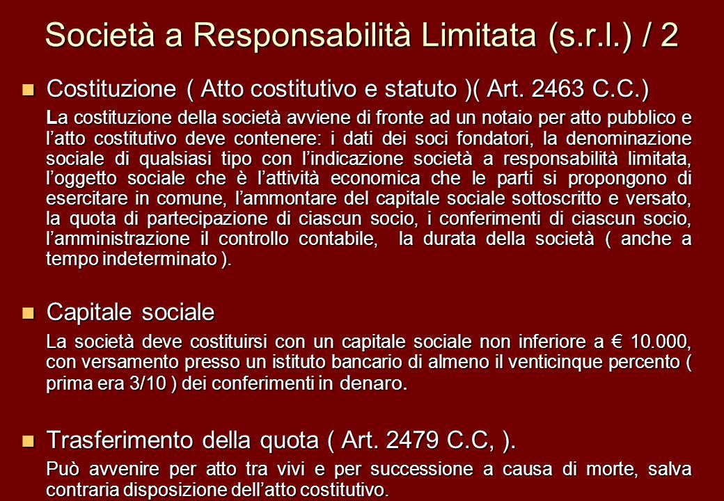 Società a Responsabilità Limitata (s.r.l.) / 2