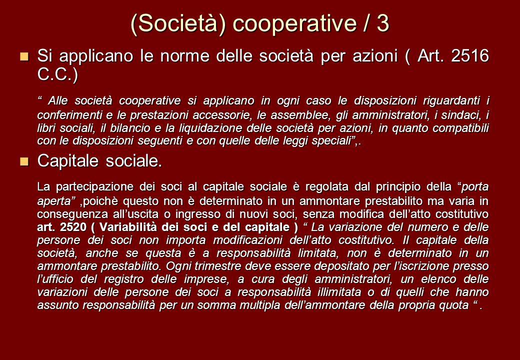 (Società) cooperative / 3