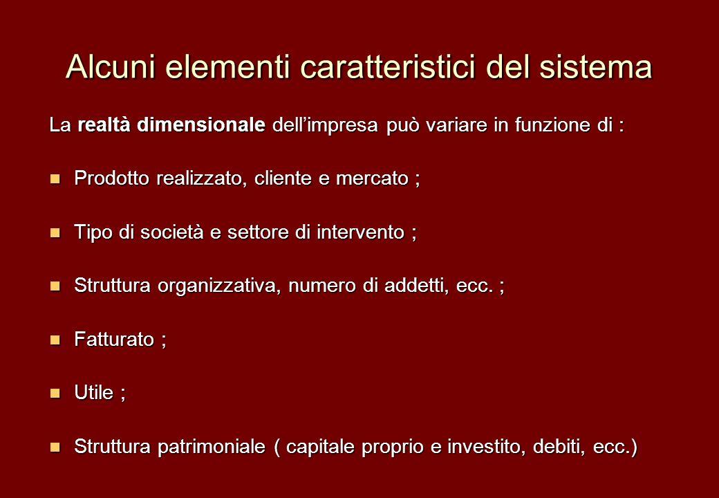 Alcuni elementi caratteristici del sistema