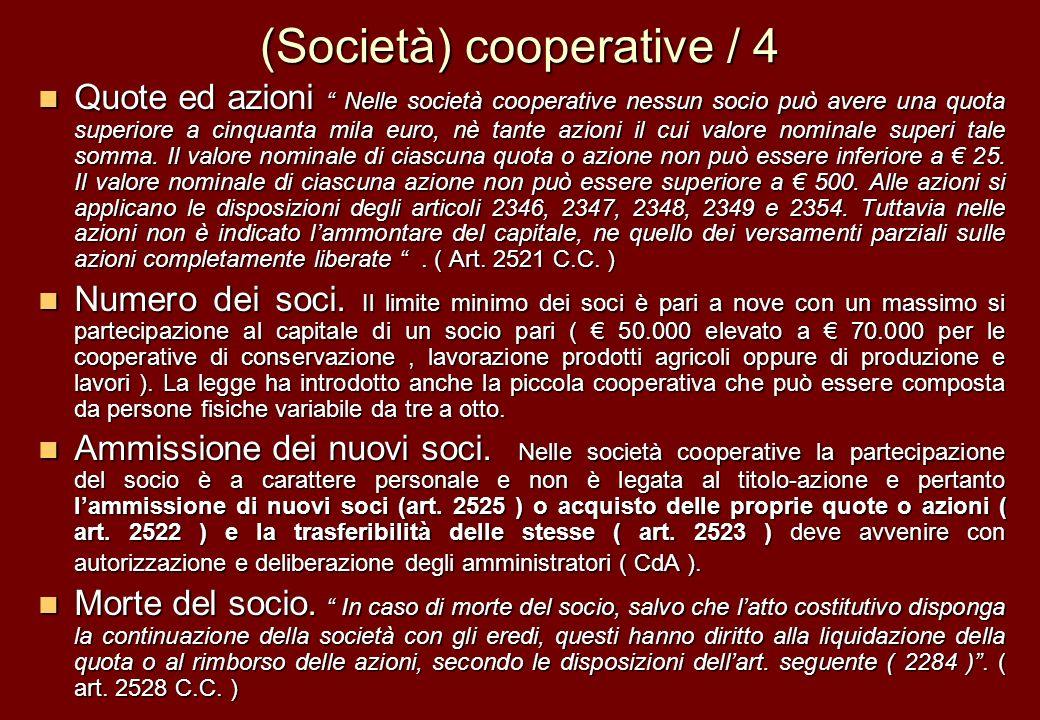(Società) cooperative / 4