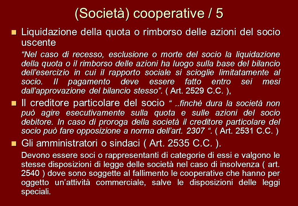 (Società) cooperative / 5