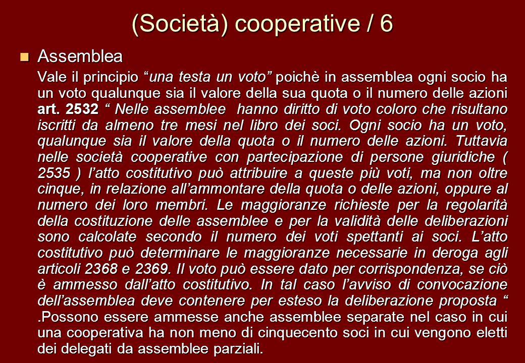 (Società) cooperative / 6