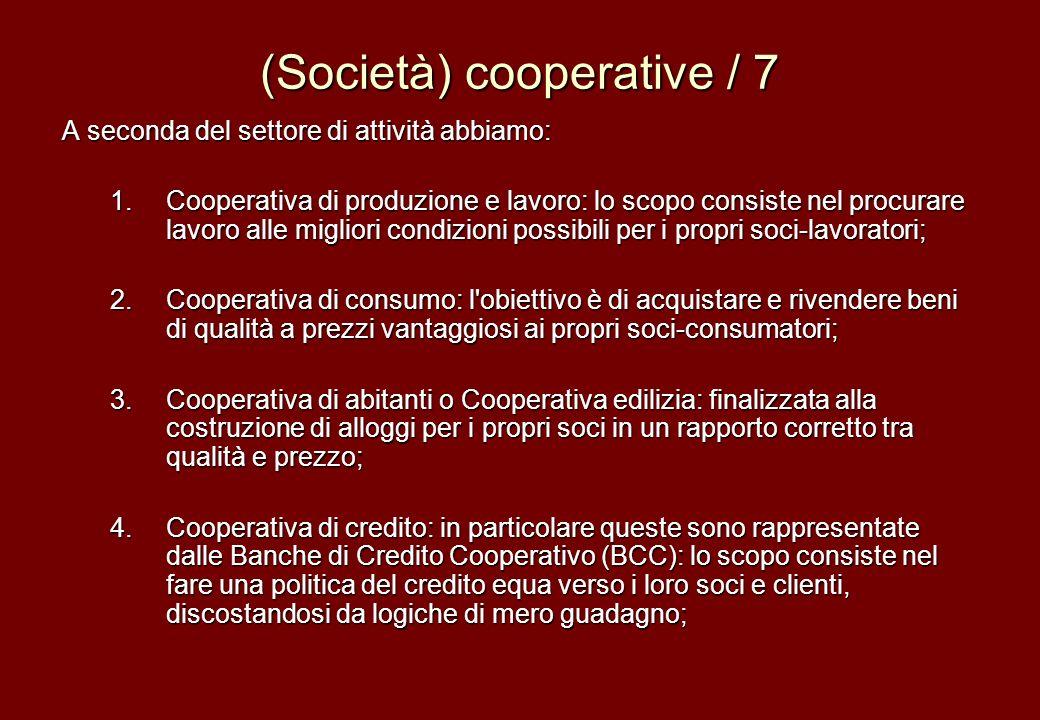 (Società) cooperative / 7