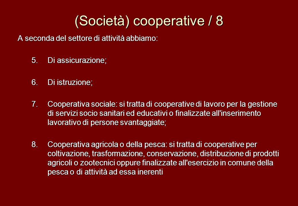 (Società) cooperative / 8