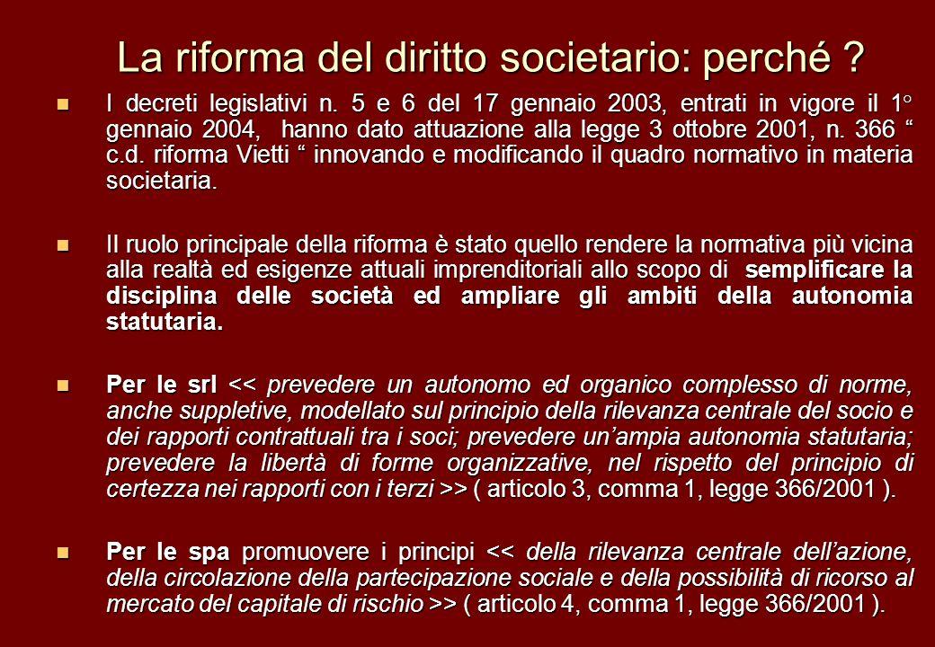 La riforma del diritto societario: perché