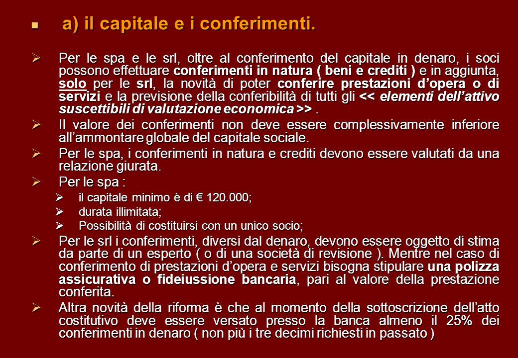 a) il capitale e i conferimenti.