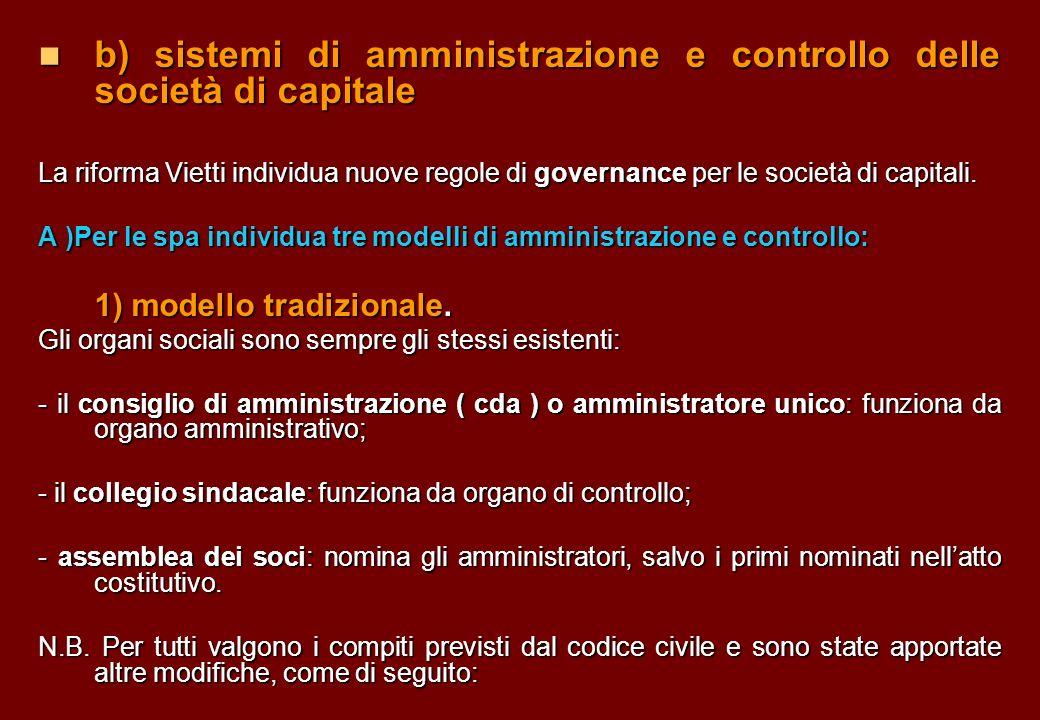 b) sistemi di amministrazione e controllo delle società di capitale