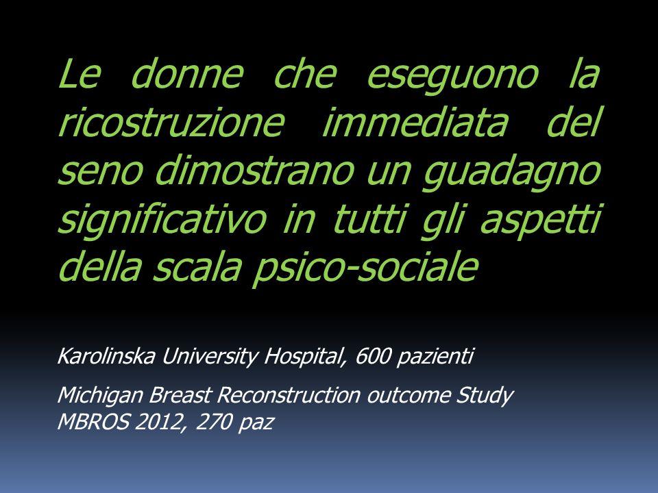 Le donne che eseguono la ricostruzione immediata del seno dimostrano un guadagno significativo in tutti gli aspetti della scala psico-sociale