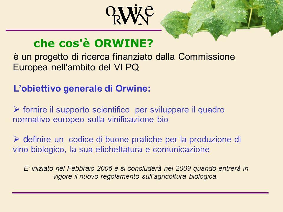 che cos è ORWINE è un progetto di ricerca finanziato dalla Commissione Europea nell ambito del VI PQ.