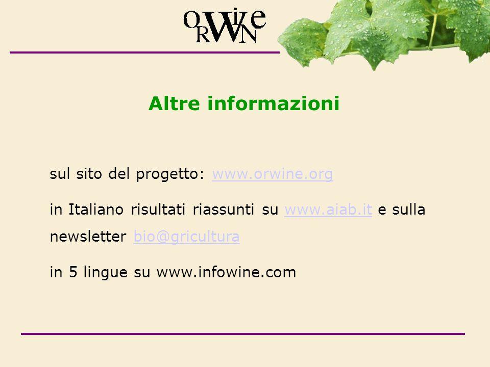 Altre informazioni sul sito del progetto: www.orwine.org