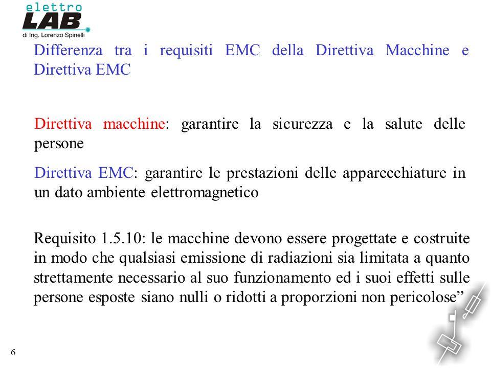 Differenza tra i requisiti EMC della Direttiva Macchine e Direttiva EMC
