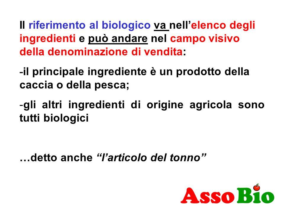 Il riferimento al biologico va nell'elenco degli ingredienti e può andare nel campo visivo della denominazione di vendita:
