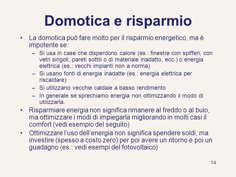 Domotica e risparmio La domotica può fare molto per il risparmio energetico, ma è impotente se: