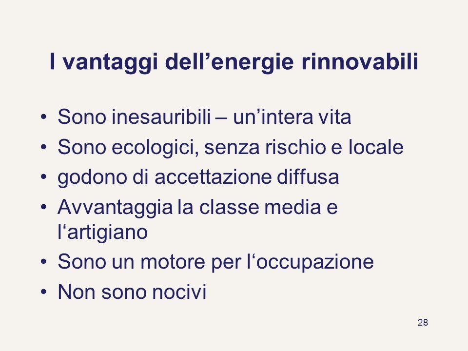 I vantaggi dell'energie rinnovabili