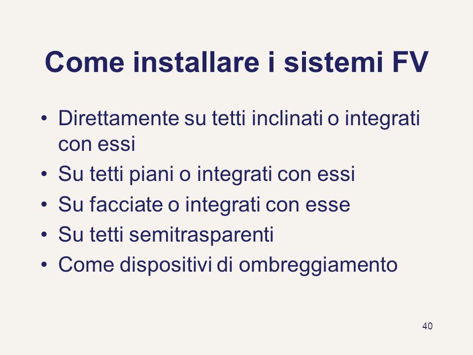 Come installare i sistemi FV