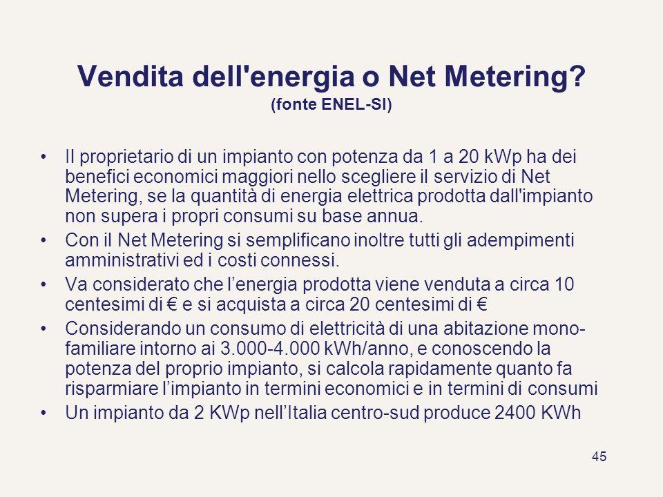 Vendita dell energia o Net Metering (fonte ENEL-SI)