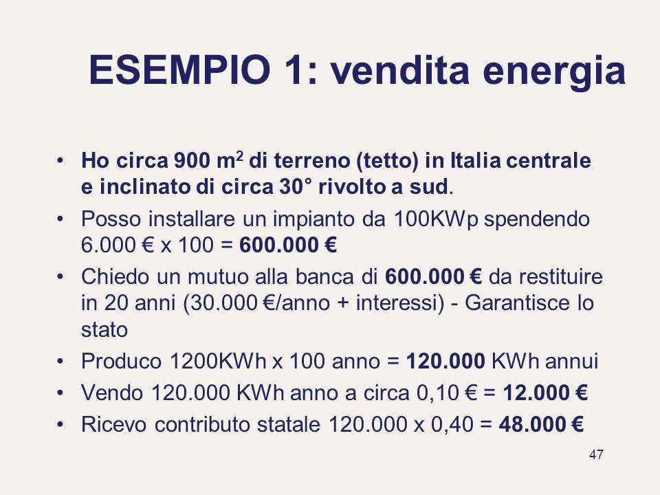 ESEMPIO 1: vendita energia