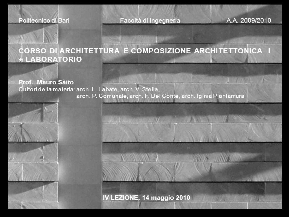CORSO DI ARCHITETTURA E COMPOSIZIONE ARCHITETTONICA I + LABORATORIO