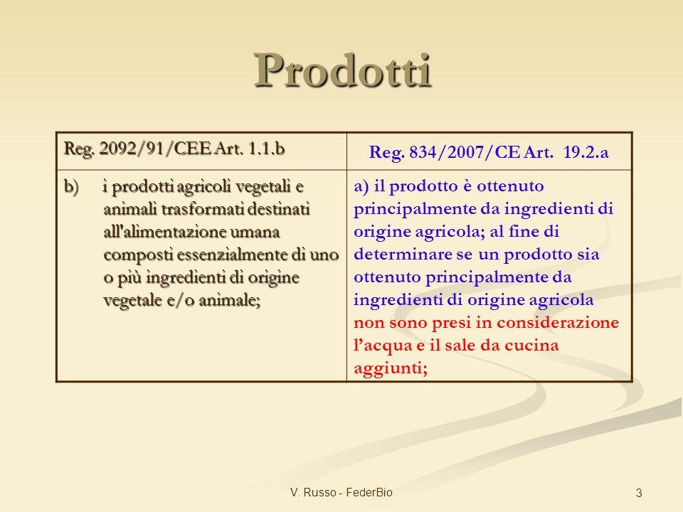 Prodotti Reg. 2092/91/CEE Art. 1.1.b Reg. 834/2007/CE Art. 19.2.a